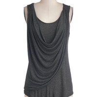 ModCloth Minimal Long Tank top (2 thick straps) Draped in Delight Top in Charcoal