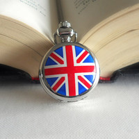 Union Jack Pocket Watch Necklace // Long Necklace // United Kingdom // British Flag