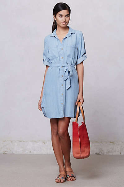 Belted Chambray Shirt Dress From Anthropologie