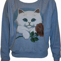 KItty Cat Holding a Rose Pullover Slouchy by UnknownArtistApparel