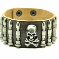 Brown Real Leather Bracelet with Bullet Rivet Women Jewelry Bangle Fashion Bracelet, Men bracelet   C020
