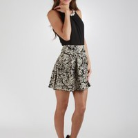 Vintage Printed High-Waisted Skirt