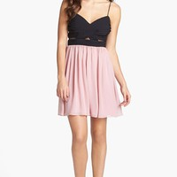 Hailey Logan Mesh Inset Chiffon Skater Dress (Juniors) | Nordstrom