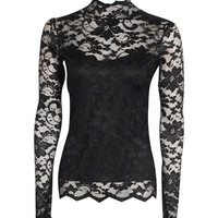 Bethany Lace Polo Neck Top