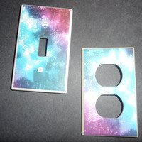Very Girly Stars/Galaxy Light Switch and Outlet by myevilfriend