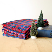 Vintage Holiday Plaid Napkins Set of 4 Red Blue Green Plaid