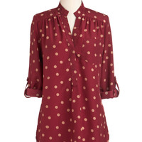 Hosting for the Weekend Tunic in Merlot | Mod Retro Vintage Short Sleeve Shirts | ModCloth.com