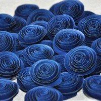 Navy Blue Paper Flowers | AccentsandPetals - Wedding on ArtFire