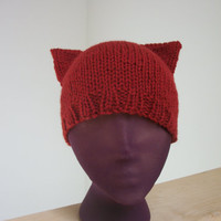 Knit Orange Kitty Hat Cat Ears Halloween Beanie
