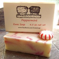 Peppermint Soap Handcrafted Artisan Bar with Kaolin Clay for Christmas