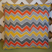 Indoor Outdoor Zigzag Pillow Cover Orange,Yellow Gold, and Gray