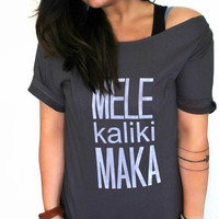 FREE SHIPPING- Melekalikimaka Shirt, Off Shoulder Shirt, Hipster Shirt, Slouchy Shirt, Oversized Shirt, Christmas Shirt (women, teen girls)