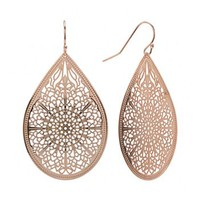 daisy fuentes® Rose Gold Tone Filigree Teardrop Earrings