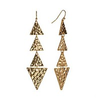 Apt. 9® Gold Tone Hammered Triangle Linear Drop Earrings