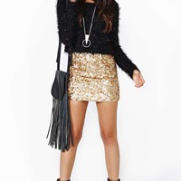 Rare London Gold Crush Sequin Skirt