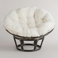 Ivory Faux Fur Papasan Cushion | World Market