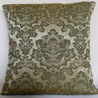 Green Damask Pillow Cover with Envelope Opening | HomebodyCreations - Housewares on ArtFire