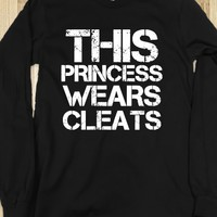 THIS PRINCESS WEARS CLEATS, SOCCER, SOFTBALL ,BLACK TEE T SHIRT TSHIRT