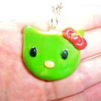 Hello Zombie Kitty Clay Charm Necklace  from Mizziexoxo Boutique