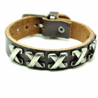Brown Real Leather Bracelet with Bullet Rivet Women Jewelry Bangle Fashion Bracelet, Men bracelet   C026