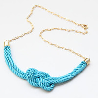 Turquoise silk knot necklace  24k gold plated  by TheUrbanLady