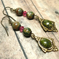 Rhyolite Stones Swarovski Indian Pink Crystal Gold Dangle Earrings