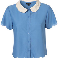 Chambray Scallop Button Shirt -   - Tops