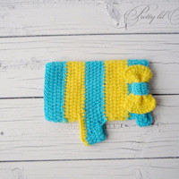 Turquoise and Yellow crocheted doggie sweater by prettylilpieces