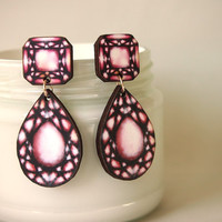 Red Ruby Gem Dangle Earrings - Laser Cut Wood