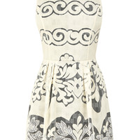 CREAM PRINTED LACE DRESS