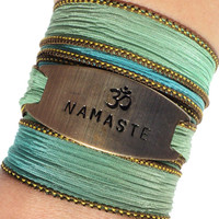 Namaste Silk Wrap Bracelet Yoga Jewelry Handmade Om Ohm Bohemian Green Unique Gift For Her Christmas Stocking Stuffer Under 50 Item Z35