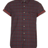 Dark Red Tartan Short Sleeve Shirt - New In