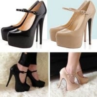Zehui Sexy Vogue Women's Mary Jane Pumps Stiletto Platform Super High Heel Party Shoes