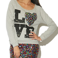 Love Jeweled Sweatshirt | Shop Just Arrived at Wet Seal