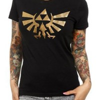 Nintendo The Legend Of Zelda Gold Triforce Girls T-Shirt