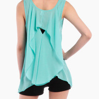 Ruffled Back Chiffon Tank in Teal