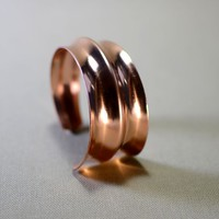 Double anticlastic massive copper cuff bracelet