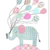 Aqua and Pink Nursery, Elephant Nursery, Turtle Nursery, Girls Wall Art, Aqua Elephant, Balloons, Girls Room Decor, Cute nursery art