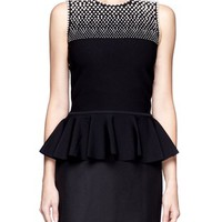ALEXANDER MCQUEEN - Pearl embellished peplum top  | Black Vests/Tanks Tops | Womenswear | Lane Crawford - Shop Designer Brands Online