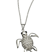 Somchintana Micro Pave CZ and Silver Turtle Pendant Necklace - Max & Chloe