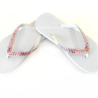 White Thongs, Flip Flops, Sandals Featuring Pink Swarovski Crystals WHPK
