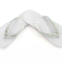 White Thongs, Flip Flops, Sandals Featuring AB Swarovski Crystals