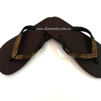 Brown Flip Flops Featuring Brown Swarovski Crystals BRBR