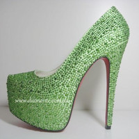 Green Swarovski Crystals High Heels