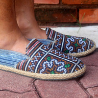 Mens Loafer in Ethnic Hmong Embroidery and Indigo Batik Vegan Shoe