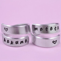 hakuna matata - Spiral Rings, Hand Stamped, Shiny Aluminum, Skinny Ring, Lion King Inspired, Handwritten Font, V2