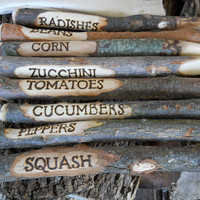 8 Rustic Wooden Personalized Garden Stakes or by EarthlyArtz