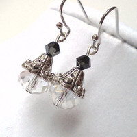 Elegant antique silver Swarovski earrings by PinkCupcakeJC on Etsy