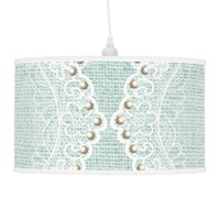 Elegant white lace with pearls, mint green burlap lamps