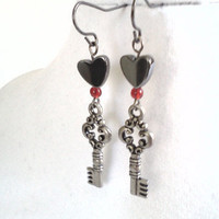 Queen of hearts skeleton key and hematite dangle by PinkCupcakeJC